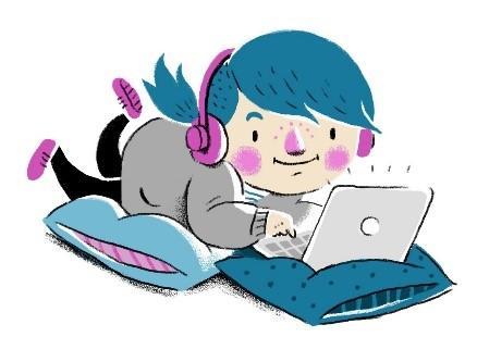Kuvituskuva piirretty tyttö näppäilee läppäriä